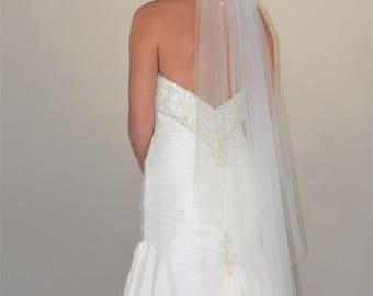 "Swarovski Crystals Scattered 48"" Angel Cut Wedding Veil with Cut Edge"