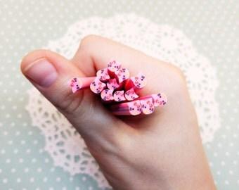 5pc Pink Hello Kitty Fimo Cane 50mm Assorted Clay Mini Cabochon Kawaii Nail Art Decoden Craft DIY