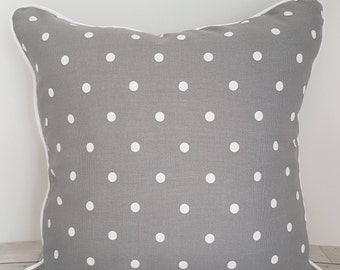 Dotty cushion cover, pillow, grey polka dot, piped, zipped, clarke and clarke, housewarming gift, gift for her, 18 inch