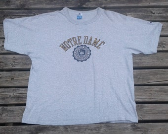 Vintage 80's University of Notre Dame Fighting Irish Made by Champion t-shirt Made in USA XXL