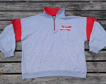 Vintage 80's / 90's Budweiser Pullover Zip Up Sweatshirt Made in Canada large