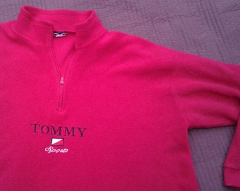 Vintage 90's Tommy Hilfiger SPORTS Red Bootleg Fleece Sweater Pullover