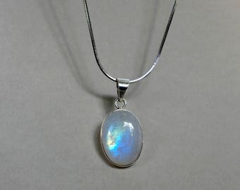 Large Moonstone Necklace, Rainbow Moonstone Pendant, June Birthstone Gift, Statement Necklace Birthday gifts for wife sister, Push Present