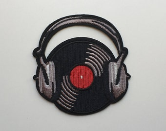 Vinyl Dj Headset Iron On Patch