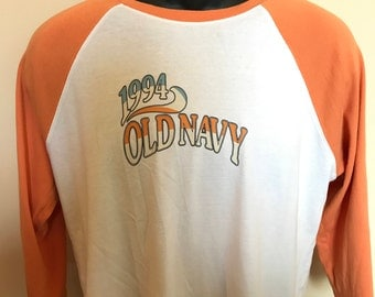 1994 Old Navy Shirt Vintage Tee Half Sleeve 90s Dazed Confused 70s Style Slim Perfect Surf Fit Soft Thin Comfy Gap Retro Rare Crew Neck XL