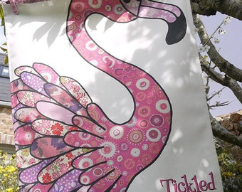 Flamingo tea towel - Cotton kitchen towel,  Pink tea towel - Tropical theme for kitchen decor by MollyMac  or gift for friend-Designer