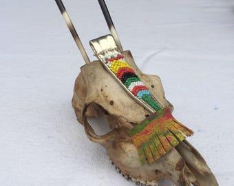 Beaded deer skull, curiosity.
