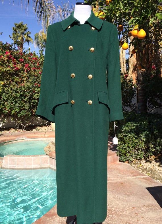 Stunning I Magnin Vintage Emerald Green Camel Hair Coat.