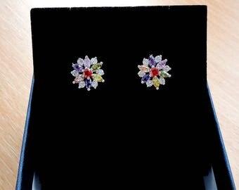 Crystal stud earring studs flower earrings jewelry floral earrings delicate earrings gift mom sunflower silver stud earrings women gifts