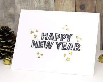 New Year Card - Handmade Happy New Year Card - Hand Stamped New Year's Cards - Heat Embossed New Year Cards with Gold Stars - 2018 Cards