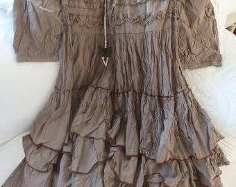 Dress vintage summer dress 100% silk Pintuck flounces Edwardian style cocktail dress wedding Theatre Opera birthday confirmation