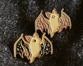 Ghost Bat Enamel Lapel Pin Badge / Artist Series pin by Teagan White / Halloween Cute Spooky Dead Animal Friend Forest
