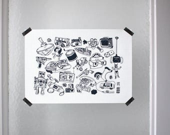 Vintage toys A3 print numbered and signed screenprint