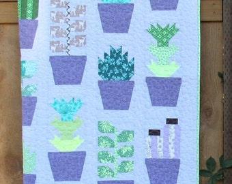 PRE-ORDER Greenhouse Medium Lavender Quilt Kit featuring Terrarium by Elizabeth Hartman