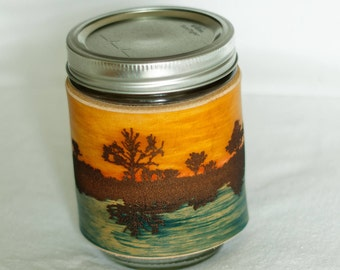 Dusky Lake (no handle) -handmade leather mason jar sleeve - Hand Crafted, Lake & Sunset, leather mason jar wrap, jar cuzzy,  True Craftworks