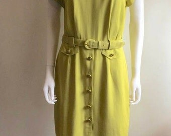 1980s Dress / Chartreuse / Gold Buttons / M