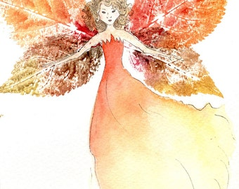 Flaming Fenella - original watercolour fairy painting, with leaf prints