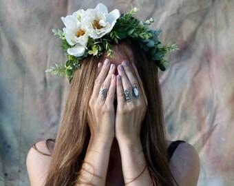 Flower crown wedding, white floral crown, bridal floral headpiece, white flower headband, flower crown adult