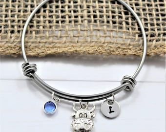 Cow Bracelet - Personalized Cow Jewelry - Cow Bangle Bracelet for Women - Cow Related Gifts - Women's Cow Jewelry - Funny Cow Gifts