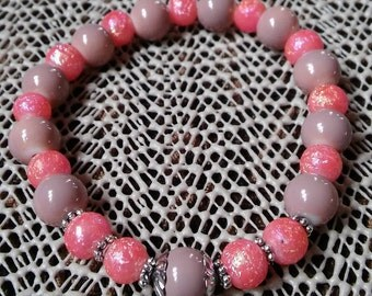 Rosary Stretch Bracelet - Taupe and Pink Glitter