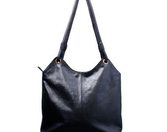Black leather bag - Leather bag - Leather handbag - Large leather bag - Black leather tote. Handcrafted from beautiful sturdy goat leather.