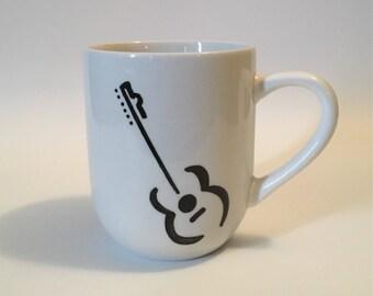 Guitar Mug, Music Mug, Musician Mug, Guitar Gift, Guitar Coffee Mug, Musician Gift, Hand Drawn Mug