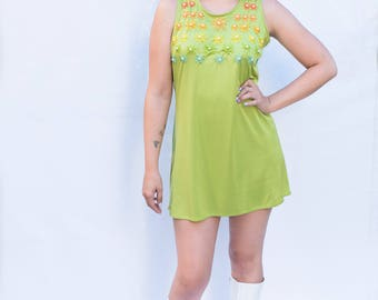Embroidered Flower Lime Green Shift Dress