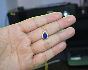 Sapphire CZ necklace,Blue color necklace,pear Shape necklace gemstone necklace,tiny necklace,pendant necklace,adjustable necklace, white CZ