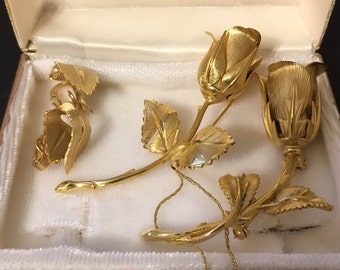 Vintage Giovanni Cerrito Set 2 Rose Brooch, Clip on Earrings, Gold ID Tag