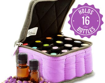 Essential Oil Padded Carry Bag - Travel Case holds 16 Vials 5ml or 10ml Bottles - Great for Traveling or Bring oils to Presentations