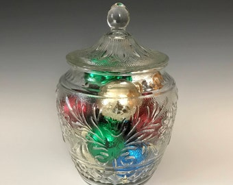 Sandwich Clear Cookie Jar with Lid - Vintage Kitchen Canister - Centerpiece - Clear Glass Storage Jar - Anchor Hocking Glass