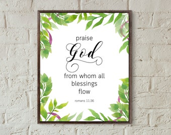 bible quotes wall art bible verse praise god from whom all blessings flow scripture print christian motivational poster printable download