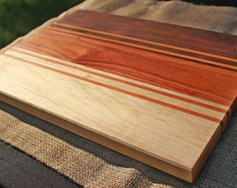 Handmade wood cutting board - cherry, walnut, & maple striped custom size wedding gift serving board cheese plate kitchen gift for cook