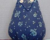 Blue Flowered Owl Stuffed Animal