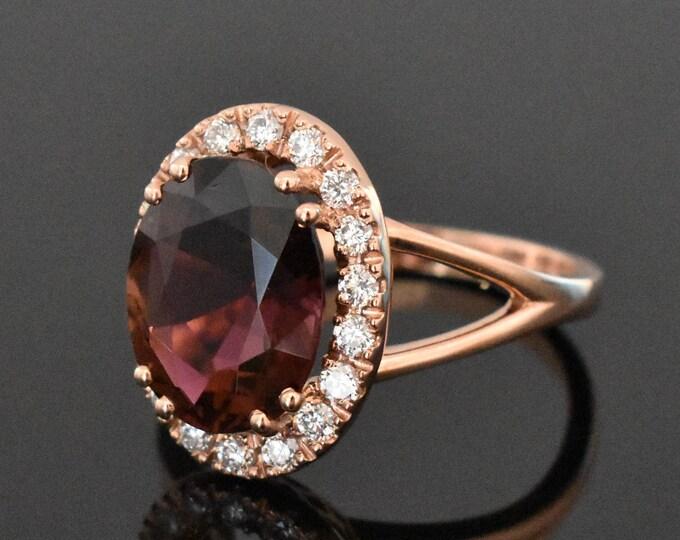14K Rose Gold Tourmaline & Diamond Ring | Engagement Ring | Statement Ring | Anniversary ring | Wedding Ring | Diamond Halo | Handmade ring