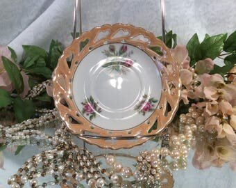 Lusterware Tea Saucer, Cut-Out Heart Edge, Pink Rose Transfer Pattern