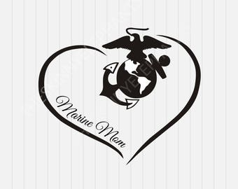 Marine Mom with Heart- svg, dxf, eps, png, Pdf - Download - Cut File, Clipart - Cricut Explorer - Silhouette Cameo