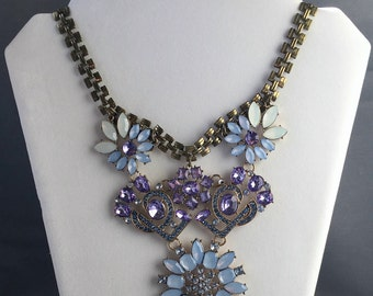 Blue and Purple Necklace, Blue and Purple Flower Necklace, Blue and Purple Art Deco Necklace, Vintage Inspired, Vintage Inspired Necklace
