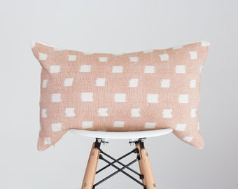 13 x 19 Blush Peachy Pink with White Dot Handwoven Pillow Cover from India, Boho Pillow Cover, Nursery Pillow Cover