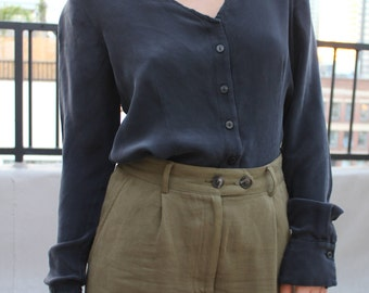 vintage silk black button down blouse minimalism