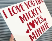 Disney Valentine, Disney Valentine's Day Sign, Mickey Mouse, Minnie Mouse, Disney Couple, Disney Love