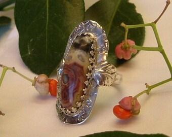 Agate Saddle Ring (ooak) .925 Sterling Silver Large Boho Size 10 Statement Ring Statement Jewelry Orange Yellow Black 353 B