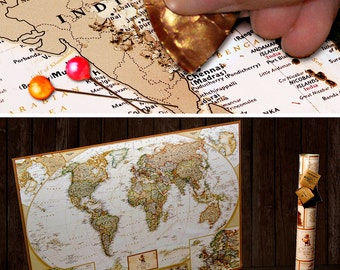 "Push Pin World Map - Scratch Off Travel Map Wall Poster with Push Pins 34.6"" x 24.8"""