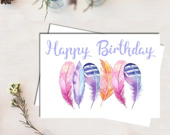 Birthday Card For Her, Dancing Feathers, Watercolour, Greeting Card