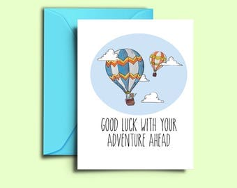 Farewell Card For Friends Hot Air Balloon Printable Good Luck Cards  Colleague Co Workers Moving  Good Luck Cards To Print