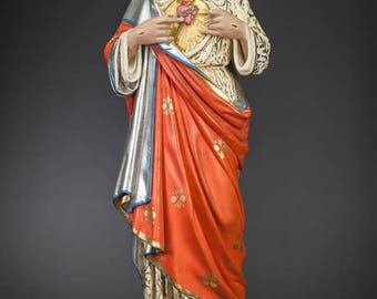 "Stunning 25"" Sacred Heart of Jesus Polychromed Plaster Statue Church Christ"