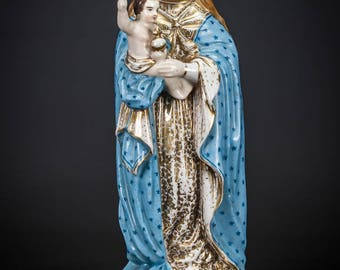 "Virgin Mary with Child Jesus Statue | Madonna with Baby Christ Figure | Antique Porcelain Figurine | 11"" Large"