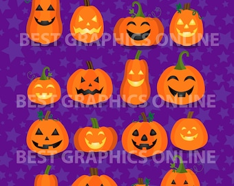 80% OFF SALE Commercial use clipart, Digital Pumpkin clipart, Digital Halloween pumpkins clip art, Halloween clipart, Vector graphics GR9