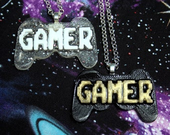 Gamer Controller Necklace Clear Silver OR Black Pixel Glitter Resin Pendant