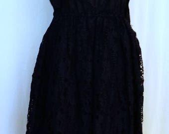 Vintage Black Lace Slip Dress